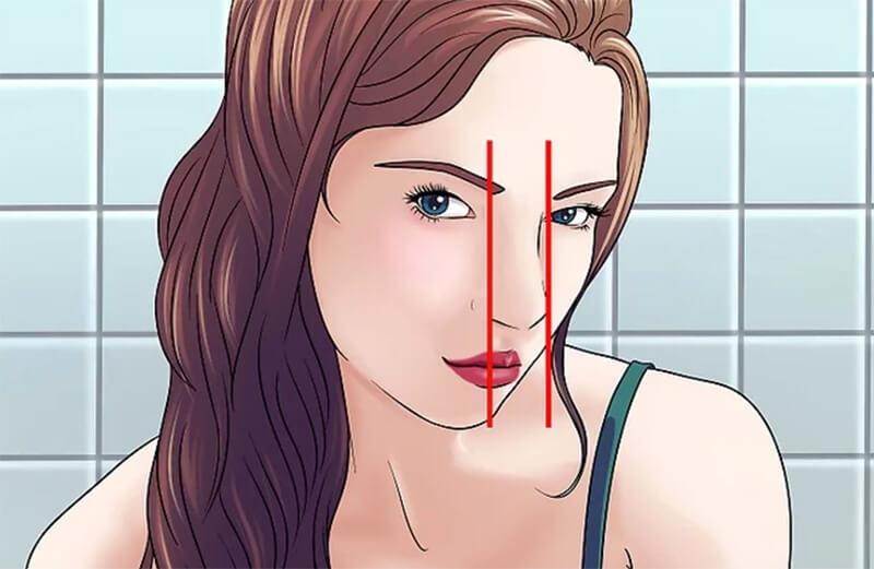 Vẽ hai đường thẳng dọc sống mũi